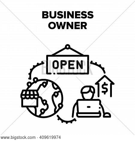 Business Owner Vector Icon Concept. Business Owner Working On Laptop For Increasing Profit And Openi