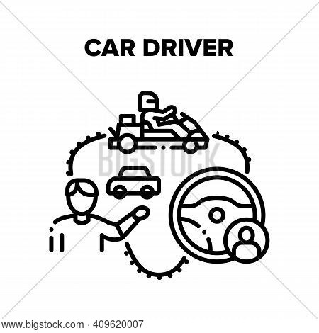 Car Driver Racer Vector Icon Concept. Car Driver Steering Wheel For Driving Automobile Or Cart, Moto
