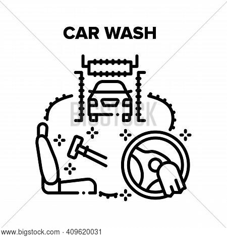 Car Wash Service Vector Icon Concept. Body Car Wash And Cleaning Salon And Steering Wheel. Washing T