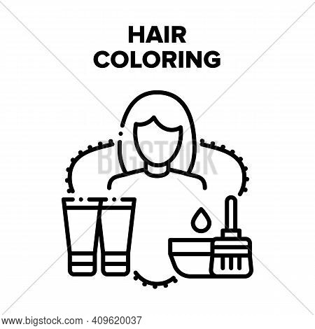 Hair Coloring Vector Icon Concept. Hairstylist Hair Coloring With Special Paint And Beauty Liquid. H
