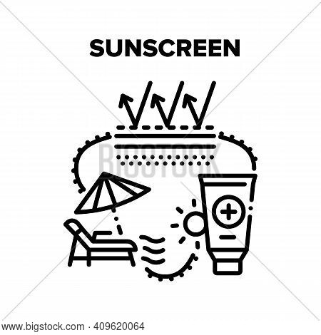 Sunscreen Cream Vector Icon Concept. Sunscreen Skin Protection Lotion, Creamy Cosmetic Tube For Prot
