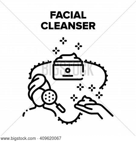 Facial Cleanser Vector Icon Concept. Facial Cleanser Cream Package, Face Skin Care And Cleansing Nat