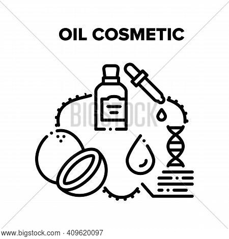 Oil Cosmetic Vector Icon Concept. Oil Cosmetic Made From Natural Tropical Nut Coconut, Healthcare Se
