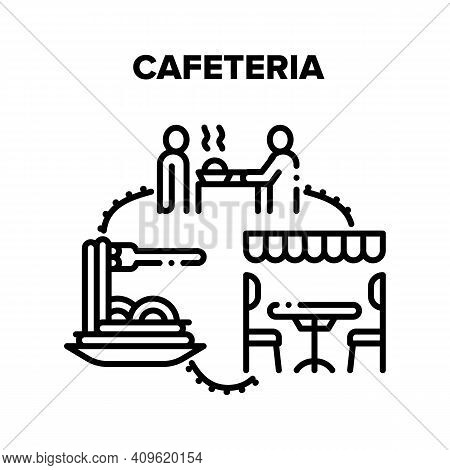 Cafeteria Food Vector Icon Concept. Client Eating Delicious Fresh Cooked Dish At Table On Chair Unde