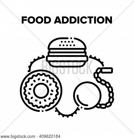 Food Addiction Vector Icon Concept. Fatty Burger With Fried Steak And Donut Dessert Fast Food Addict