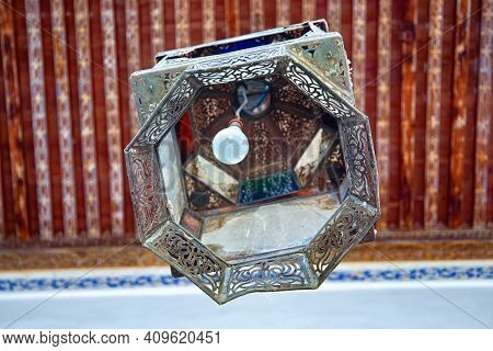 Fez, Morocco - June 02, 2017: Metal Lantern In The Dar Batha. The Former Royal Palace, Was Built By