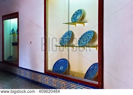 Fez, Morocco - June 02, 2017: Ancient Plates In The Dar Batha. The Former Royal Palace, Was Built By