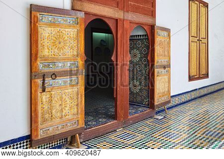 Fez, Morocco - June 02, 2017: Vintage Door In The Dar Batha. The Former Royal Palace (was Built By T