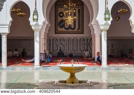 Fez, Morocco - June 02, 2017: Courtyard Of The Famous Zawiya Of Moulay Idris Ii (contains The Tomb O