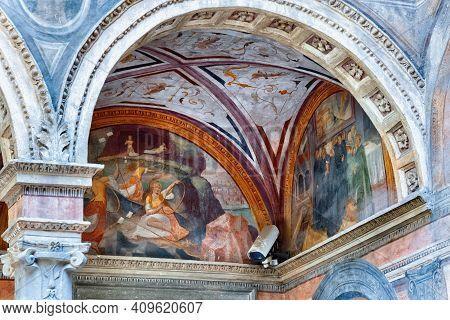 Bergamo, Italy - May 22, 2019: Interiors Of The Roman Catholic Monastery San Benedetto (dedicated Fo