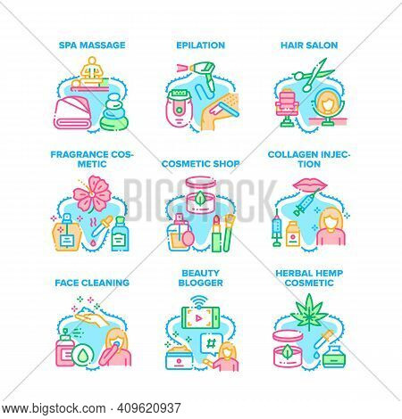 Cosmetic Glamor Set Icons Vector Illustrations. Spa Massage And Epilation, Hair Salon Face Cleaning