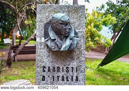 Bergamo, Italy - May 22, 2019: War Memorial For Carristi D'italia In The Park Of The Fortress Of Ber