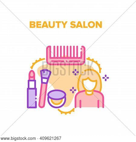 Beauty Salon Vector Icon Concept. Hairdresser Tools And Cosmetics For Makeup Woman, Beauty Salon Ser