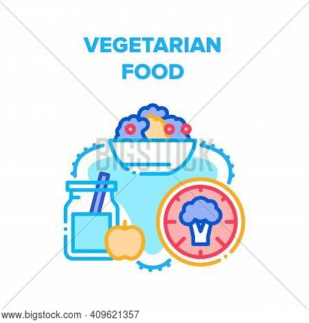 Vegetarian Food Vector Icon Concept. Natural Fruit Juice Bottle, Healthcare Broccoli Vegetable And D