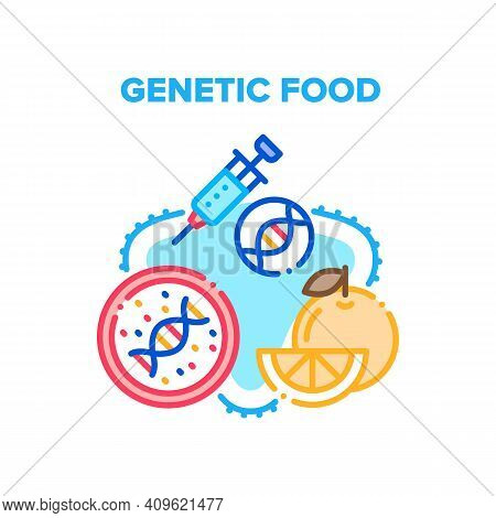 Genetic Food Vector Icon Concept. Molecular Genetic Food And Fruit, Gmo Syringe For Make Agricultura