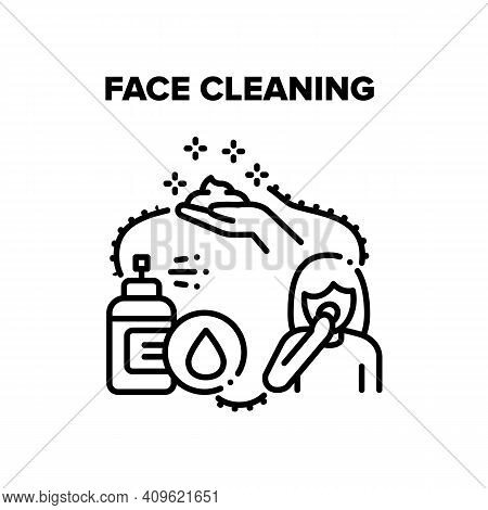 Face Cleaning Vector Icon Concept. Face Cleaning Foamy Lotion Spray And Organic Cream Or Scrub. Refr