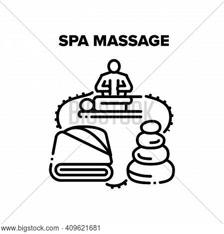 Spa Massage Vector Icon Concept. Relaxing Spa Massage In Beauty Salon Cabinet, Balancing Stones And