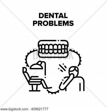 Dental Problems Vector Icon Concept. Patient With Toothache Dental Problems Treatment On Dentist Cha