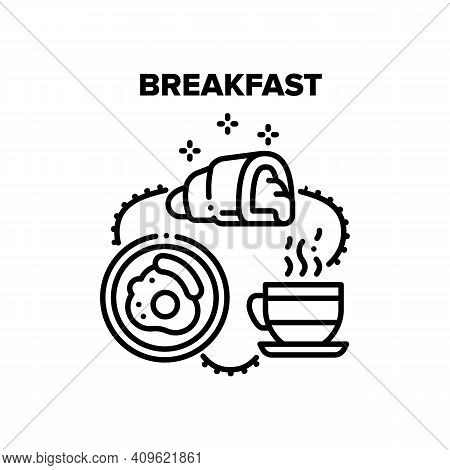 Breakfast Food Vector Icon Concept. Fried Egg With Sausage, Croissant Delicious Dessert With Jam And