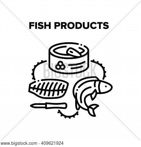 Fish Products Vector Icon Concept. Freshness Fish Fillet Meat For Cooking Tasty Dish And Caviar Prod