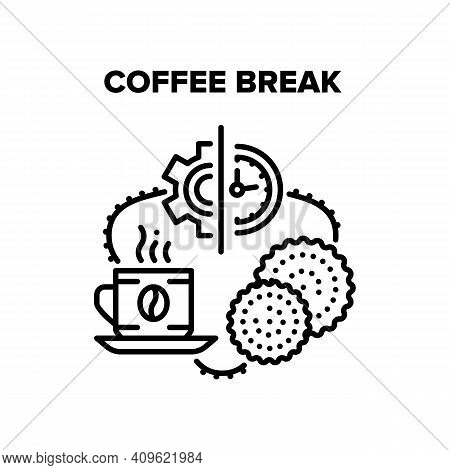 Coffee Break Vector Icon Concept. Coffee Break Relaxation Time At Working Time Or During Seminar, En