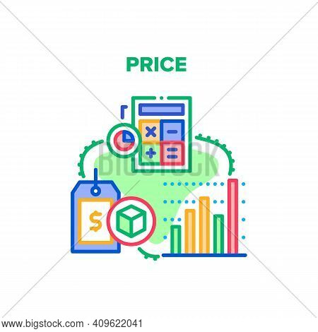 Price Selling Vector Icon Concept. Price Market Monitoring And Calculating On Calculator Device, Sal