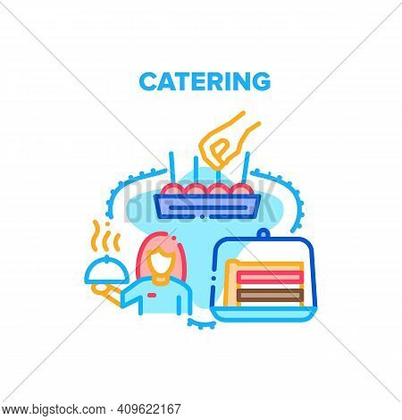 Catering Service Vector Icon Concept. Catering Service Worker Waitress Serving Banquet, Carrying Hot
