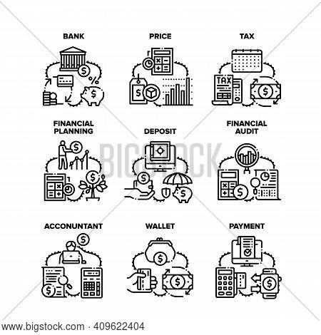 Finance Operation Set Icons Vector Illustrations. Finance Bank And Wallet, Tax And Price, Financial