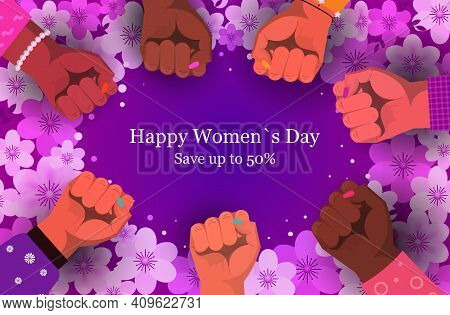 International Womens Day Mix Race Fists Holiday Shopping Sale Concept Different Nationalities Female