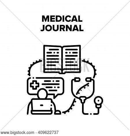Medical Journal Vector Icon Concept. Medical Journal With Patient Health And Disease History, Treatm