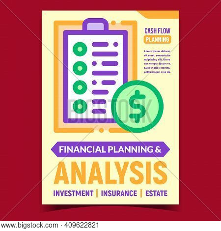 Finance Planning And Analysis Promo Poster Vector. Financial Analysis For Money Investment, Insuranc