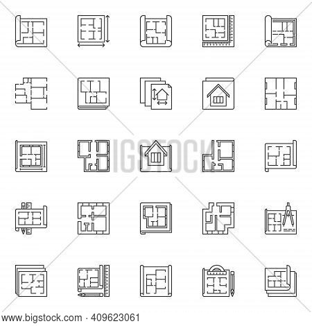 House Plan Outline Icons Set. Vector House Or Apartment Project On Blueprint Concept Line Symbols Or