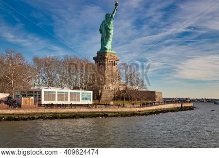 New York, New York, Usa- Jan 9,2019: The Statue Of Liberty In New York City Usa Daylight  View  From