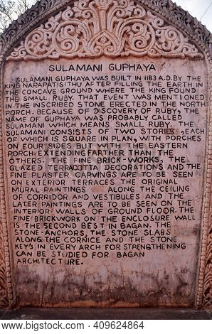 Stone Tag Label Information Detail Of Sulamani Temple Pagoda Chedi Burma Style For Burmese And Forei