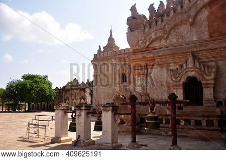 Inside Of Ananda Paya Temple And Decorate Interior Design With Iron Bell For Burma People And Foreig