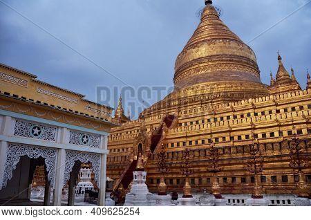 Shwezigon Stupa Pagoda Paya Of Burmese Temple For Burma People And Foreign Travelers Travel Visit An