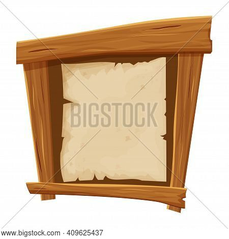 Banner From Wood Planks With Piece Of Paper, Parchment In Cartoon Style, Wild West Frame, Board Isol