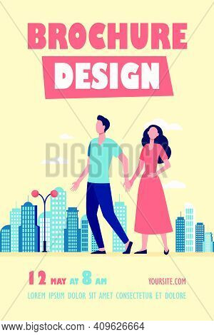 Young Couple Walking In City. Man And Woman Holding Hands Flat Vector Illustration. Citizens, Outdoo