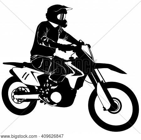 Silhouette Of A Motorcyclist On A Sports Bike - Vector Illustration.
