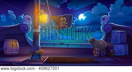 Pirate Ship Deck Onboard Night View, Wooden Boat With Cannon, Glow Lantern, Wood Barrels, Hold Entra