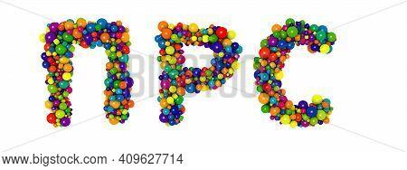 Multicolored Russian Alphabet Letters P R S. Funny 3d Illustration. Glossy Multicolored Decorative B