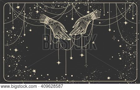 Two Hands With Precious Threads On A Black Cosmic Background. Boho Design For Palmistry, Fortune Tel