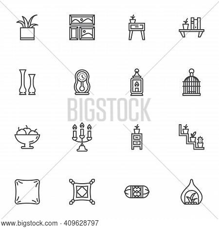 Furniture And Home Decor Line Icons Set, Outline Vector Symbol Collection, Linear Style Pictogram Pa