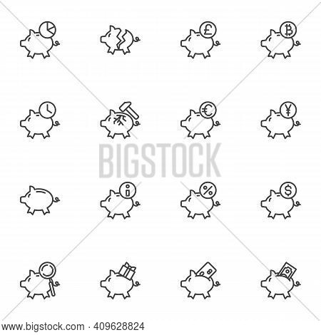 Piggy Bank And Money Line Icons Set, Outline Vector Symbol Collection, Linear Style Pictogram Pack.