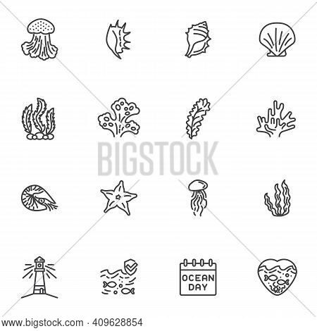 World Ocean Day Line Icons Set, Outline Vector Symbol Collection, Linear Style Pictogram Pack. Signs