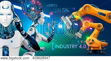Robot Or Cyborg With Artificial Intelligence Controls Manipulator Arms On Factory Or Manufacture. In