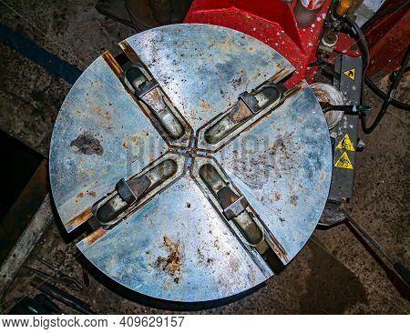 Tire Changer For Repair And Maintenance Of Car Wheels. Tire Fitting Of Wheel Tires. Car Repair Works