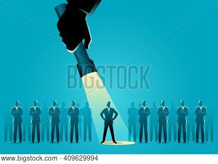 Silhouette Illustration Of A Businessman Being Flash Lighted Among Other Businessmen. Stand Out From
