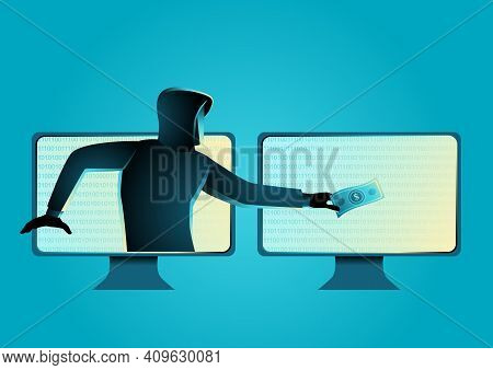 Simple Vector Illustration Of A Hacker Stealing Money, Concept Of Cyber Crime, Malware, Virus, And C