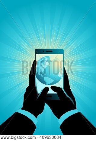 Concept Vector Illustration Of Businessman Hand Holding A Smart Phone. The World In Your Hand Concep